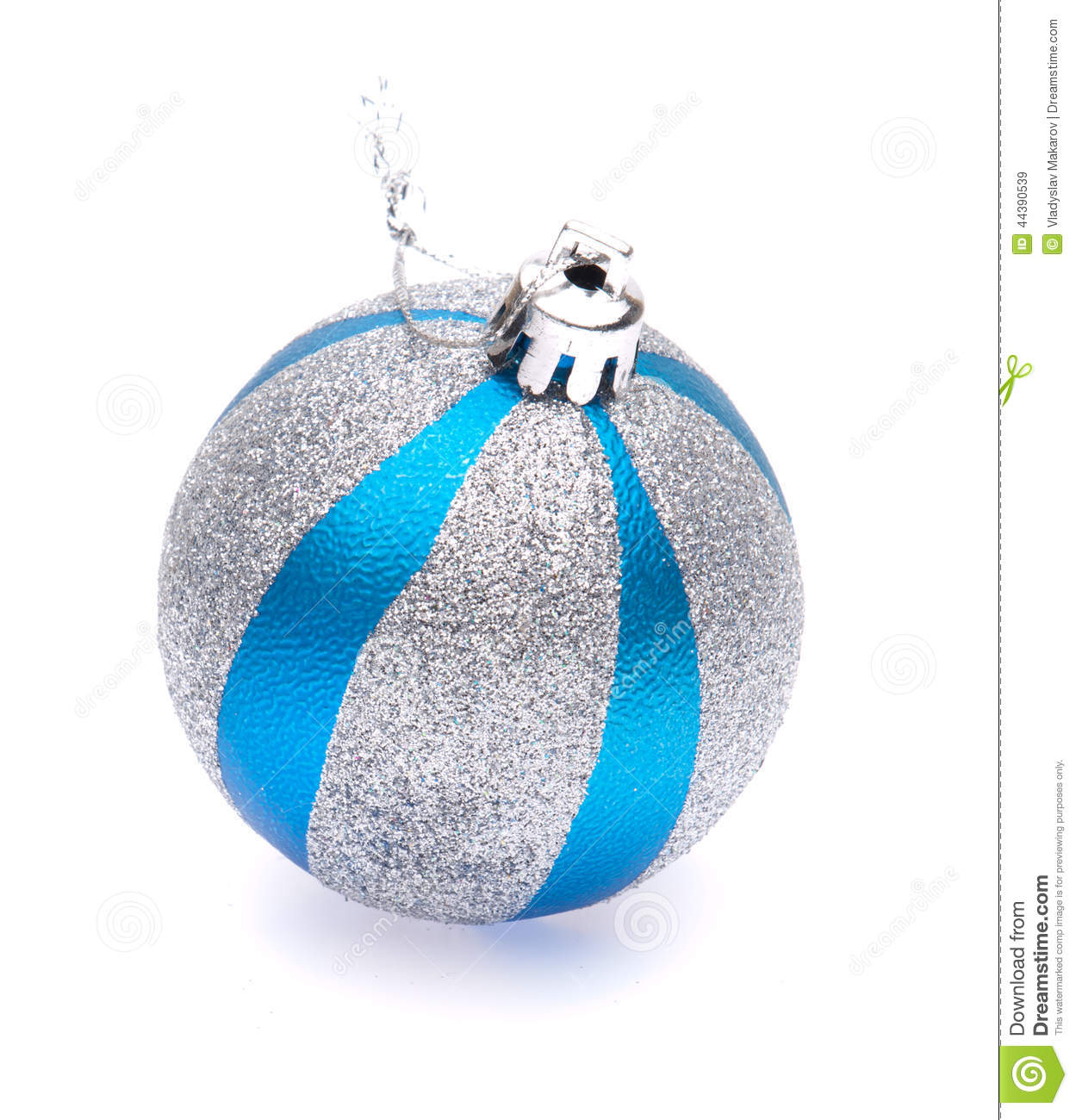 Blue-silver christmas ball stock image. Image of design - 44390539