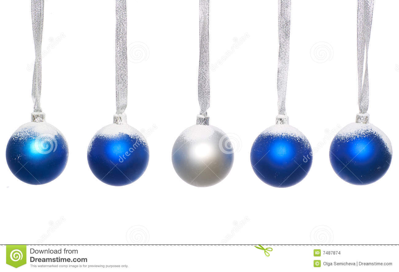 Blue And Silver Christmas Balls Stock Images - Image: 7487874