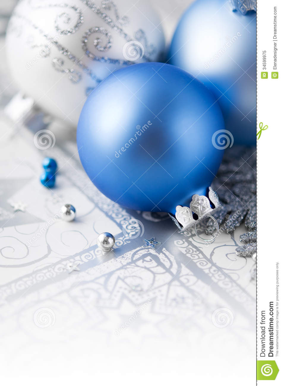 Blue And Silver Decoration Living Room: Blue And Silver Christmas Decoration On Holiday Ba Royalty