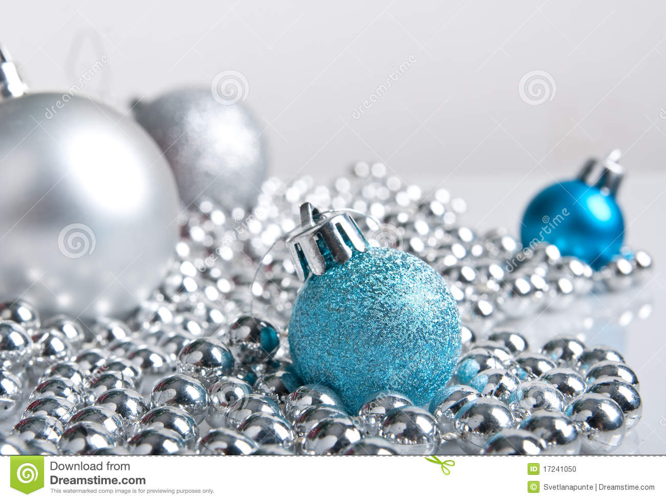 Blue and silver christmas decorations stock photo image of shine