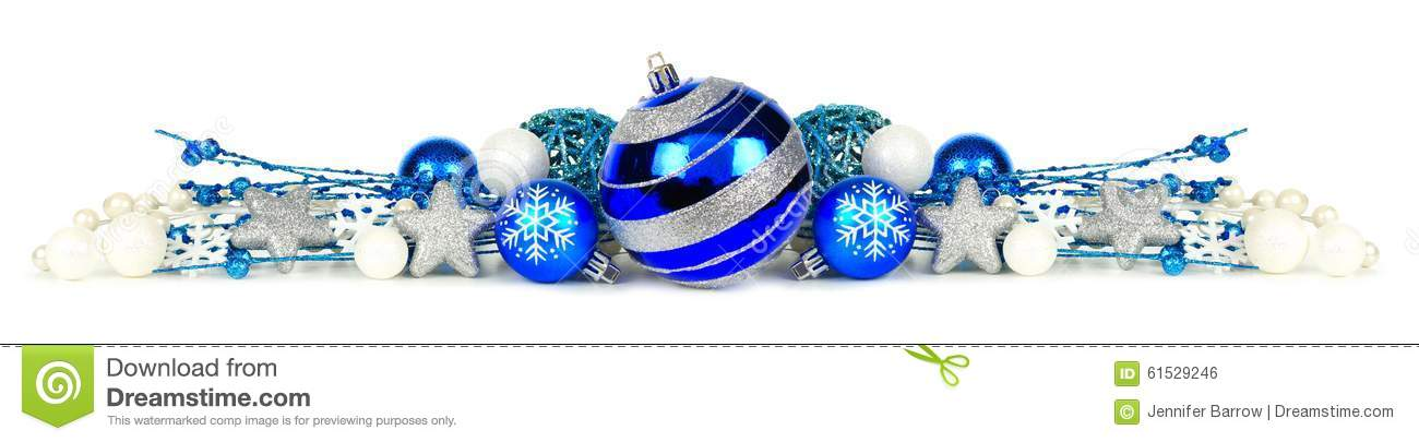 Blue And Silver Christmas Ornament Border Over White Stock Photo
