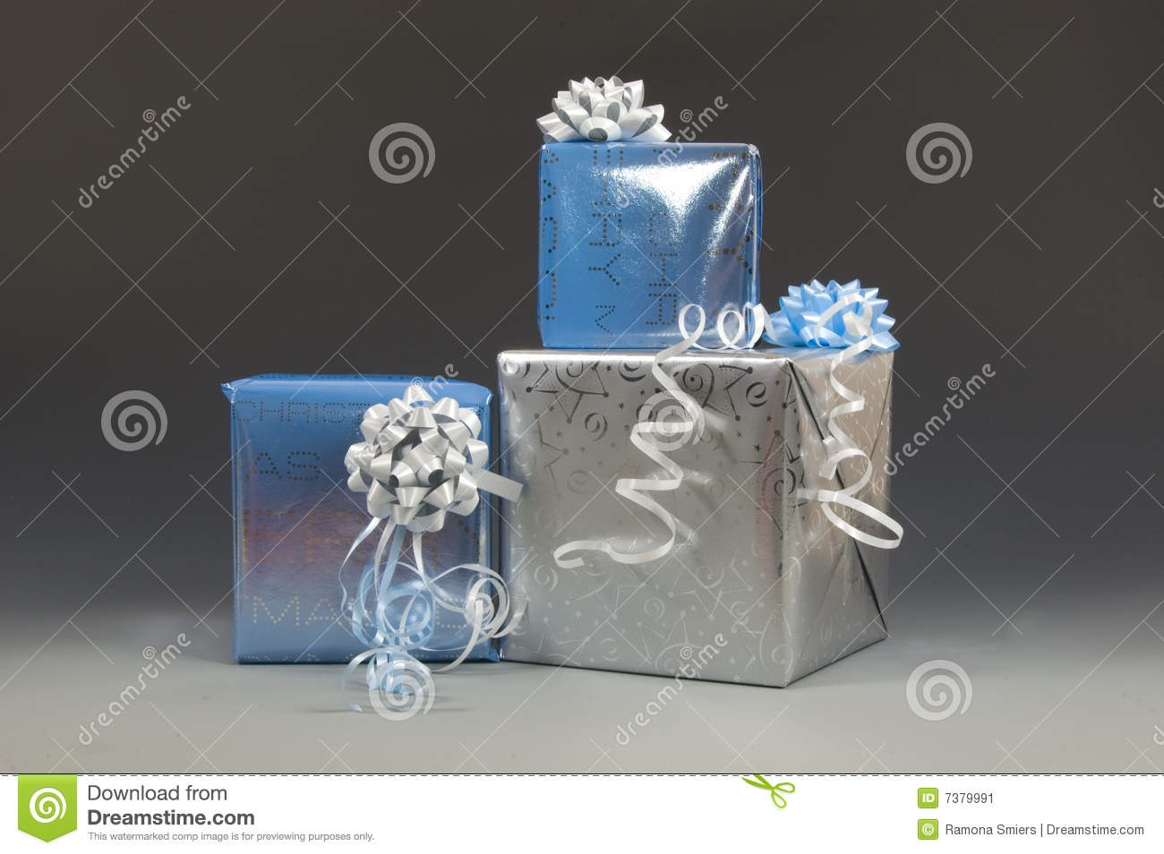 Blue And Silver Christmas Presents Stock Image Image