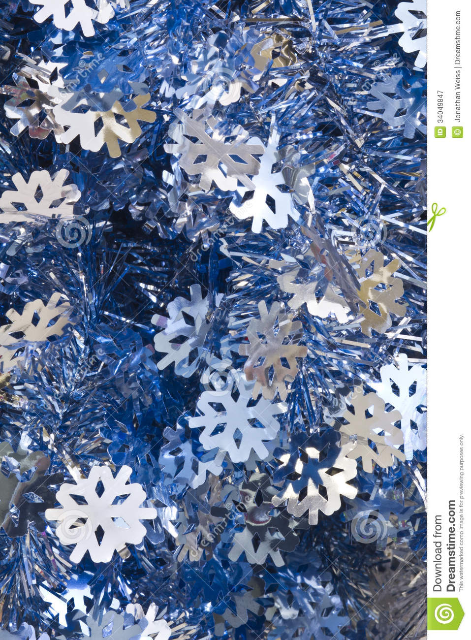 Blue And Silver Decoration Living Room: Blue And Silver Christmas Tinsel Royalty Free Stock