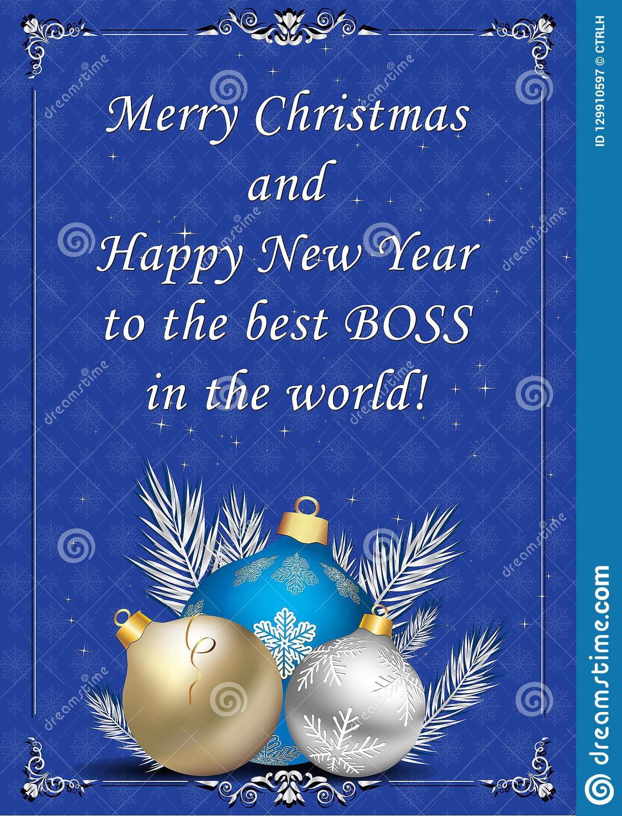 Merry Christmas Boss.Christmas And New Year Greeting Card For The Boss Stock