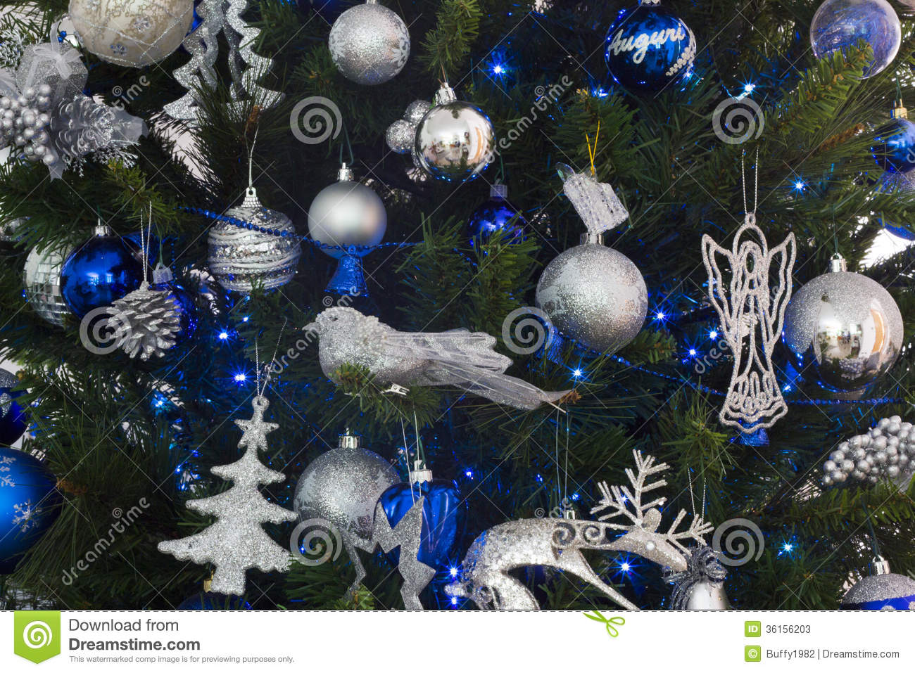 Blue and silver decorations of christmas tree stock photos for Blue decoration xmas tree
