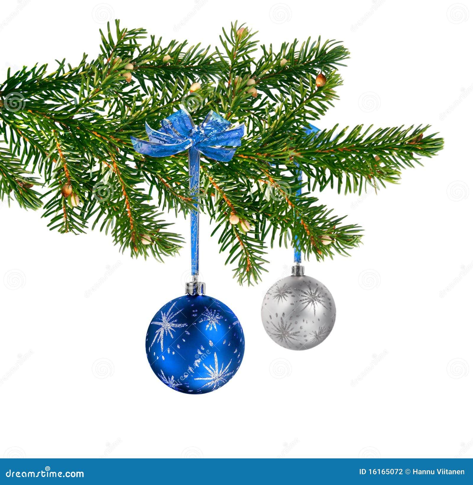 Blue Silver Glass Balls On Christmas Tree Stock Photo