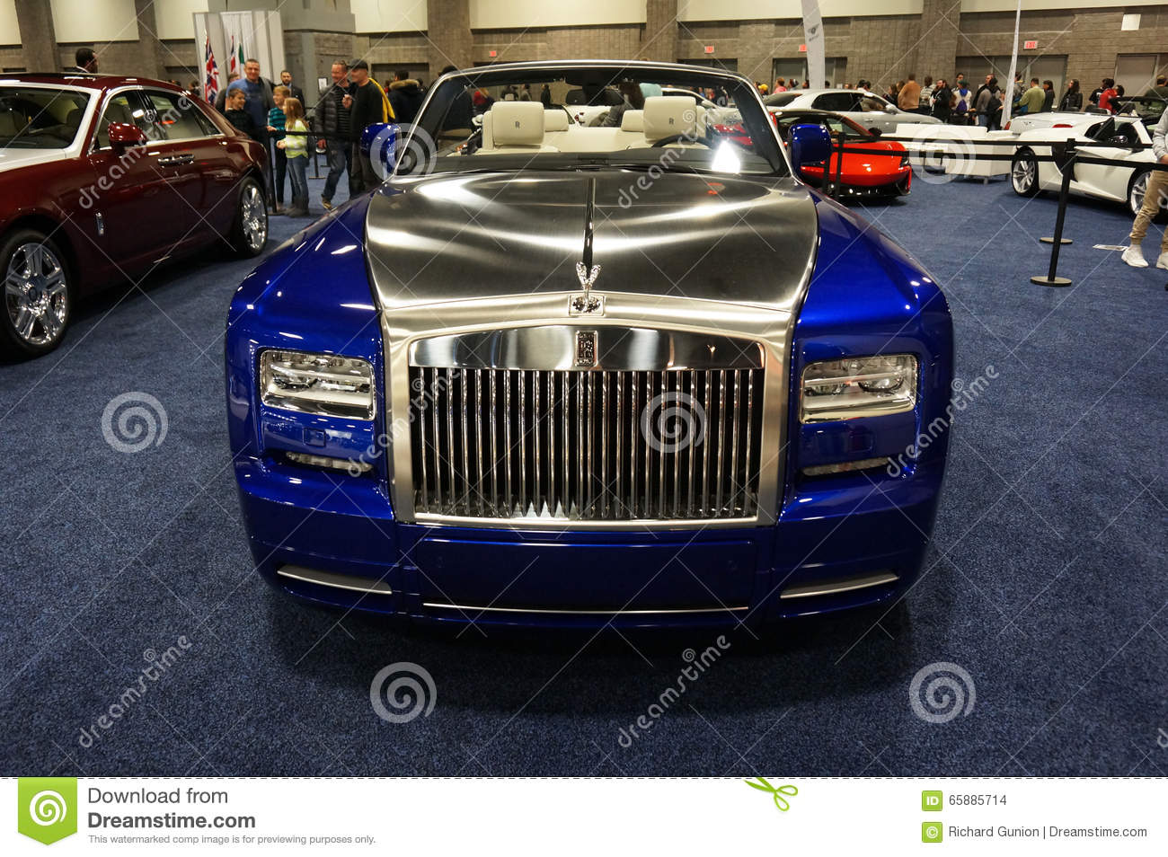 blue and silver rolls royce editorial stock image image
