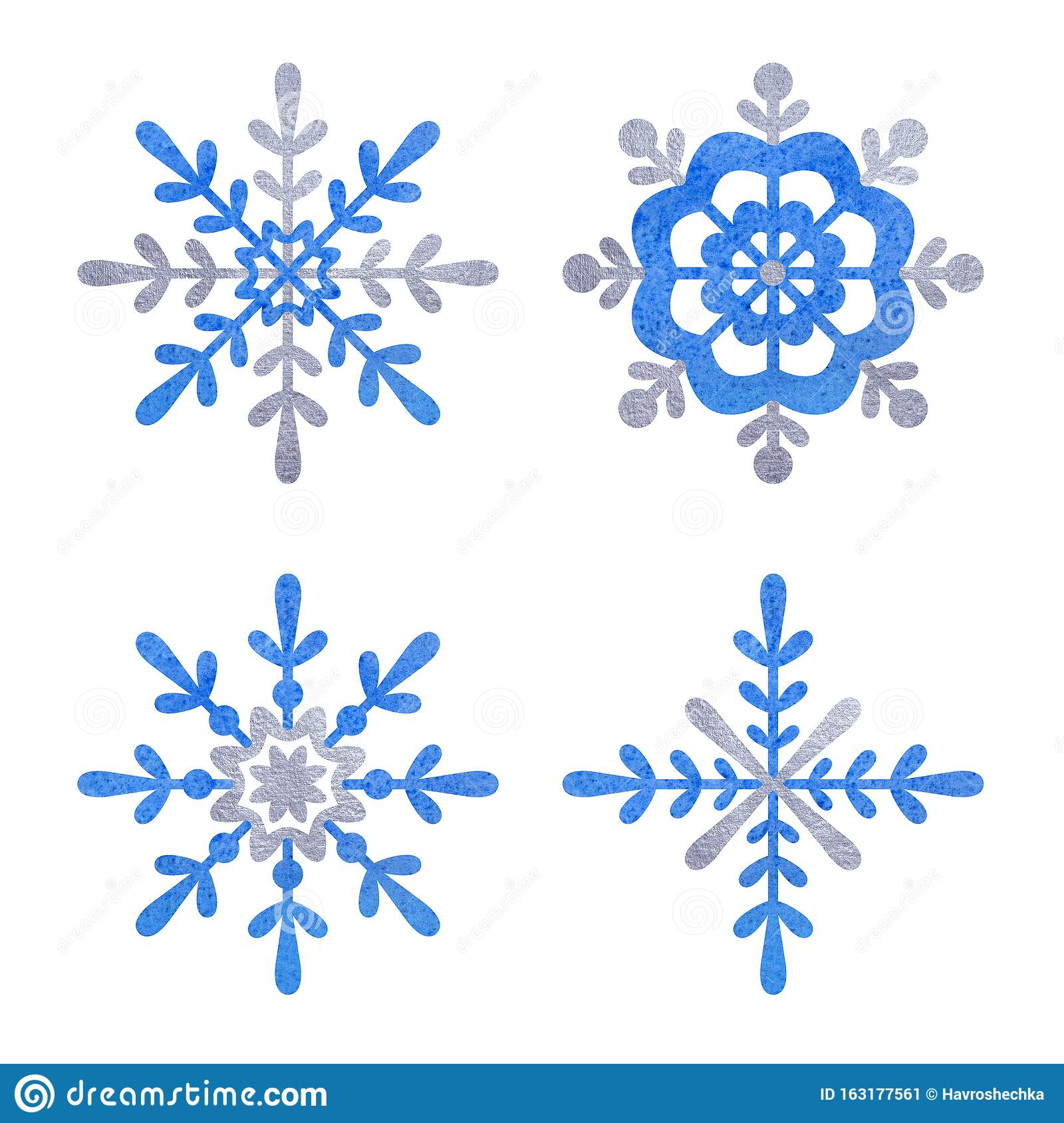 Blue and silver snowfloke watercolor hand painted clipart.