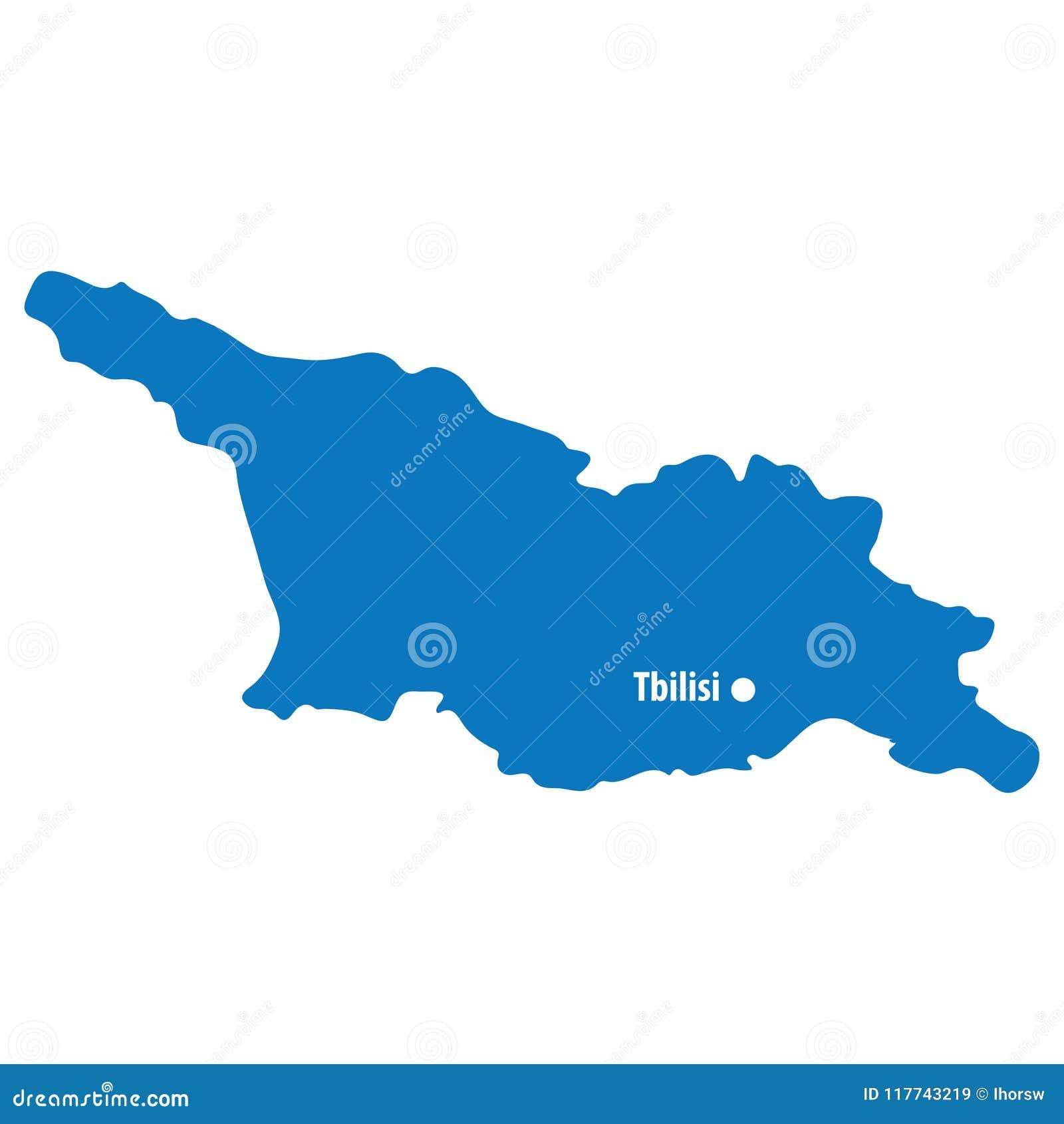 Map Of Georgia With Capital.Blue Similar Georgia Map Vector With Capital City Tbilisi European