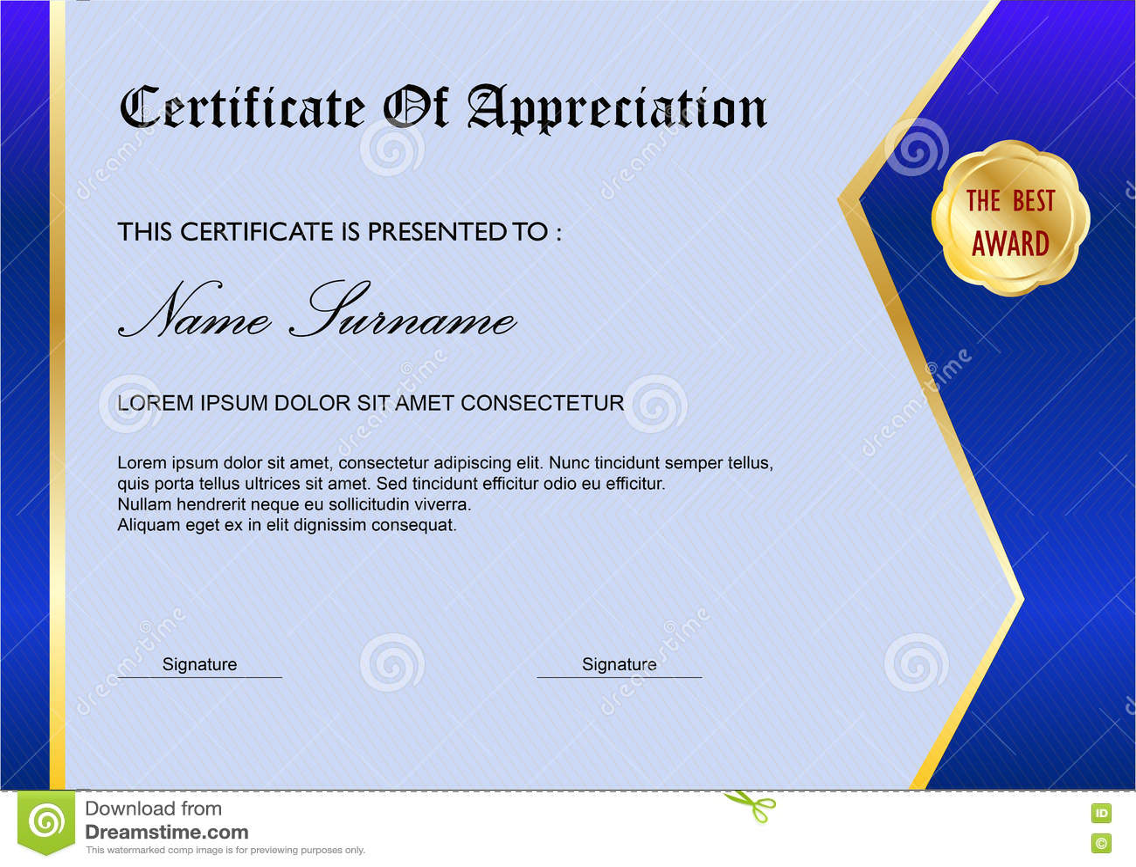 blue simple certificate diploma award template stock vector  blue simple certificate diploma award template