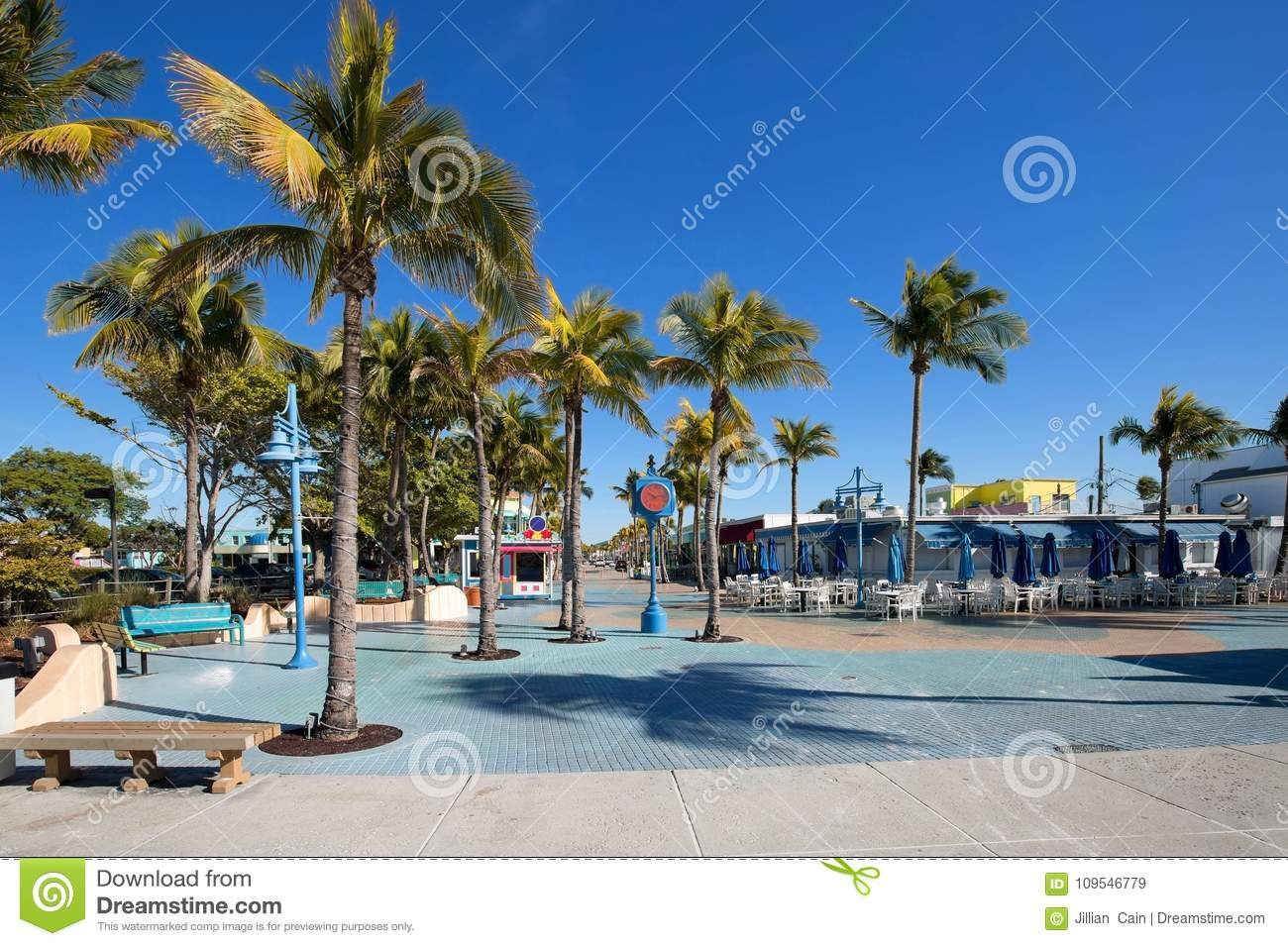Blue skies over Times Square, the heart of Fort Myers Beach.