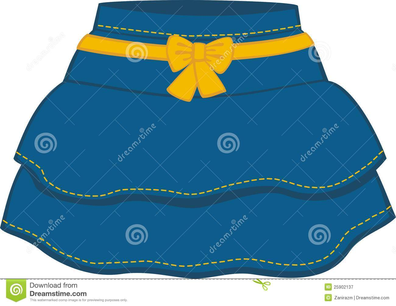 The Blue Skirt With A Yellow Bow Royalty Free Stock