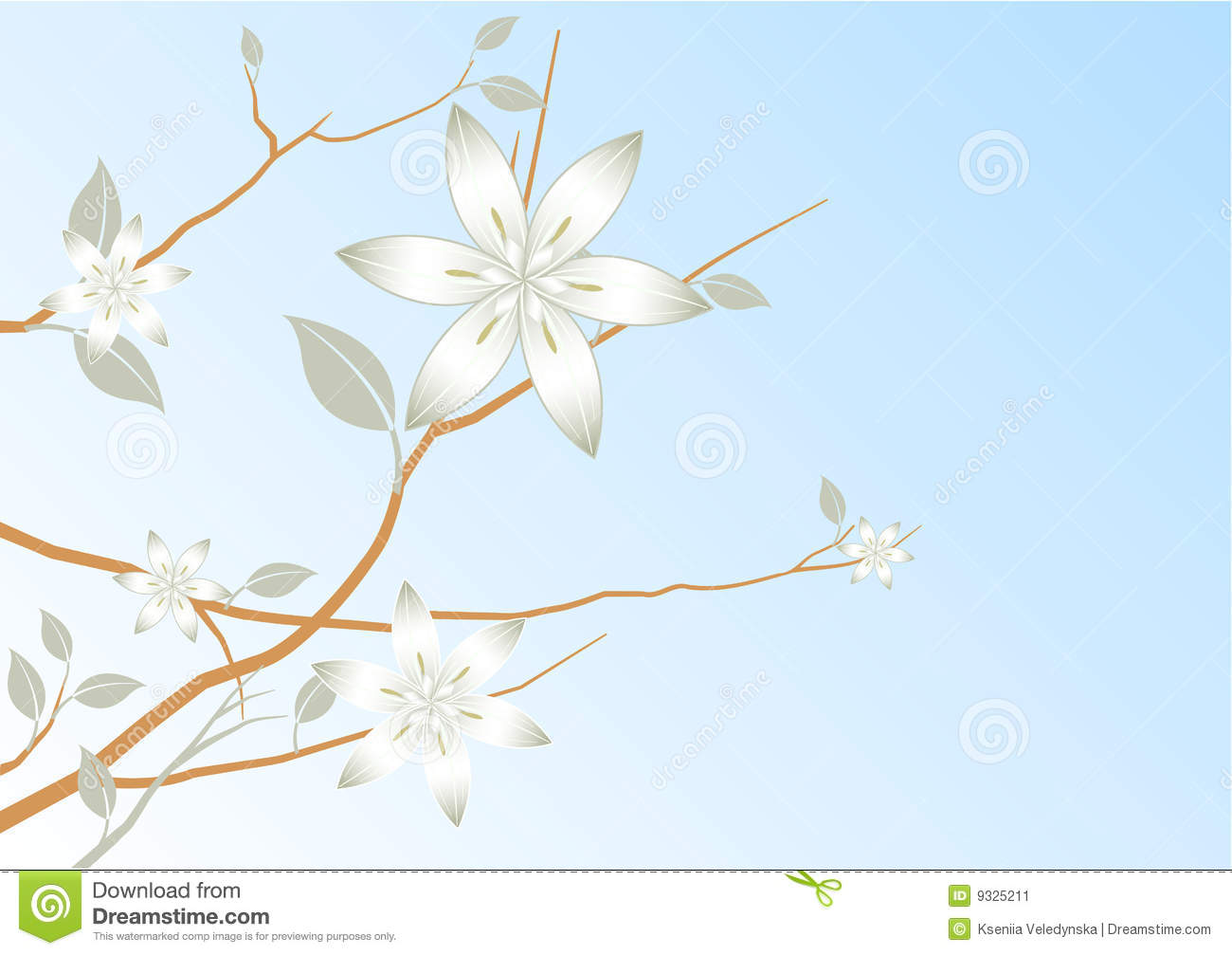 Blue sky abstract floral background stock image image 9325211