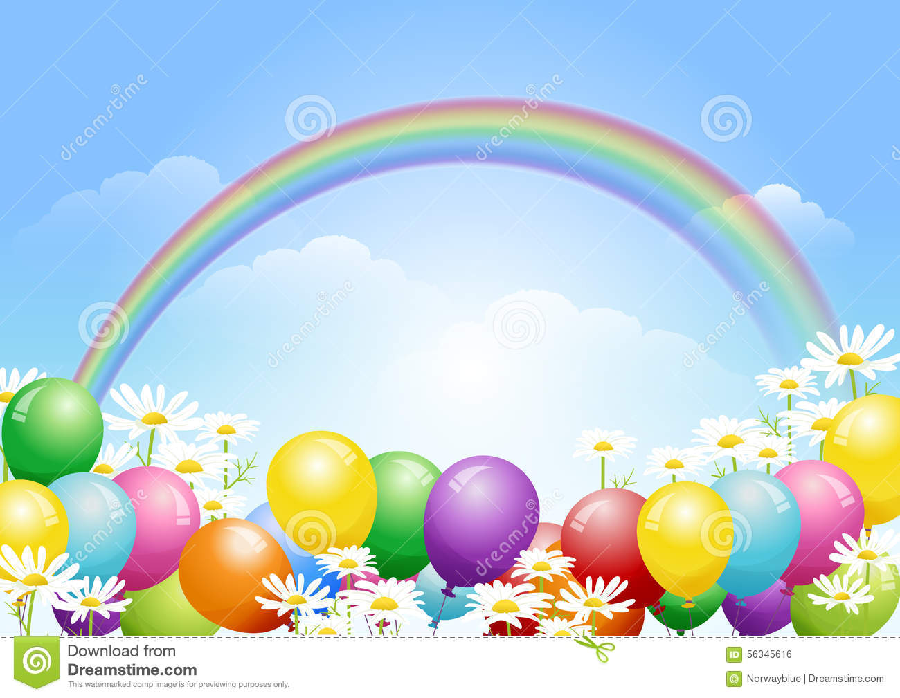 Blue Sky Background With Balloons And Daisy Flowers Stock