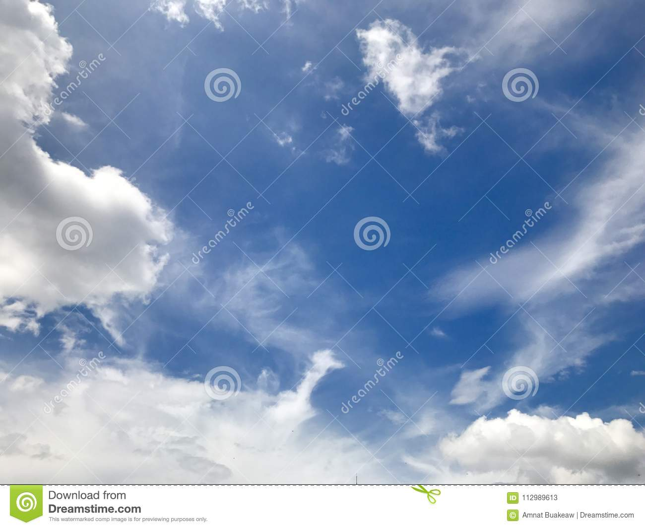 Beautiful blue sky with clouds for background and bright lighting clear on Summer