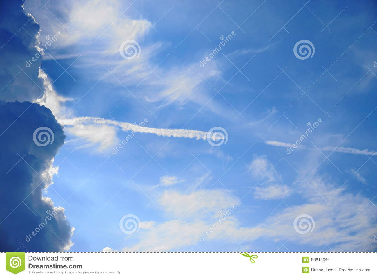 The blue sky with cloud