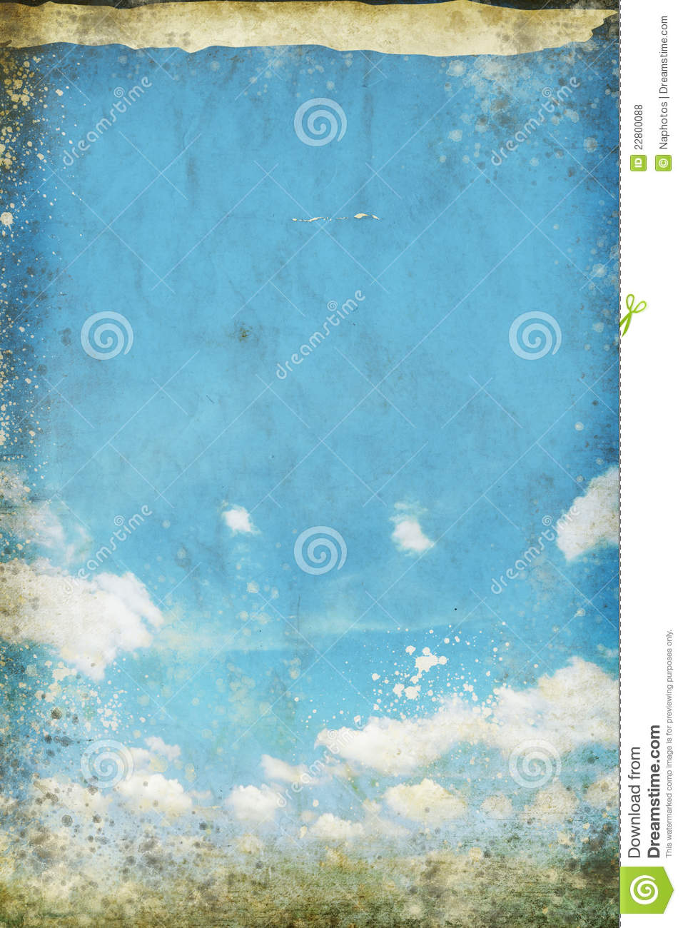 Blue sky and cloud on old grunge paper