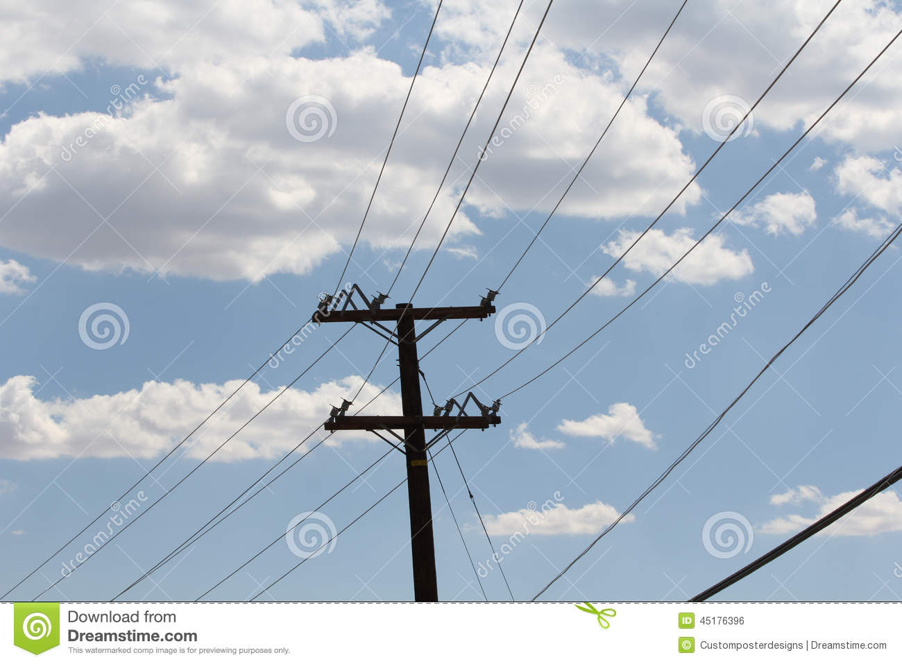 Download A Blue Sky With Clouds And Telephone Wires. Stock Photo - Image of isolated, telegraph: 45176396