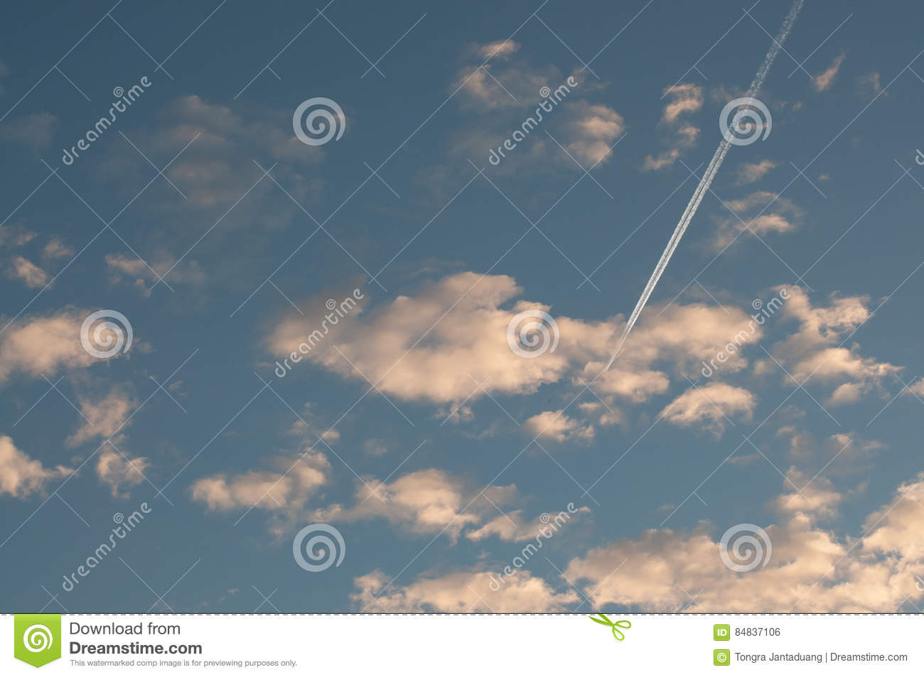 blue sky with clouds thin morning plane trip away white smoke stock