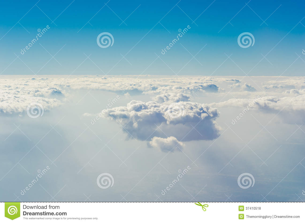 Blue sky with clouds, The upper layers of the atmosphere.