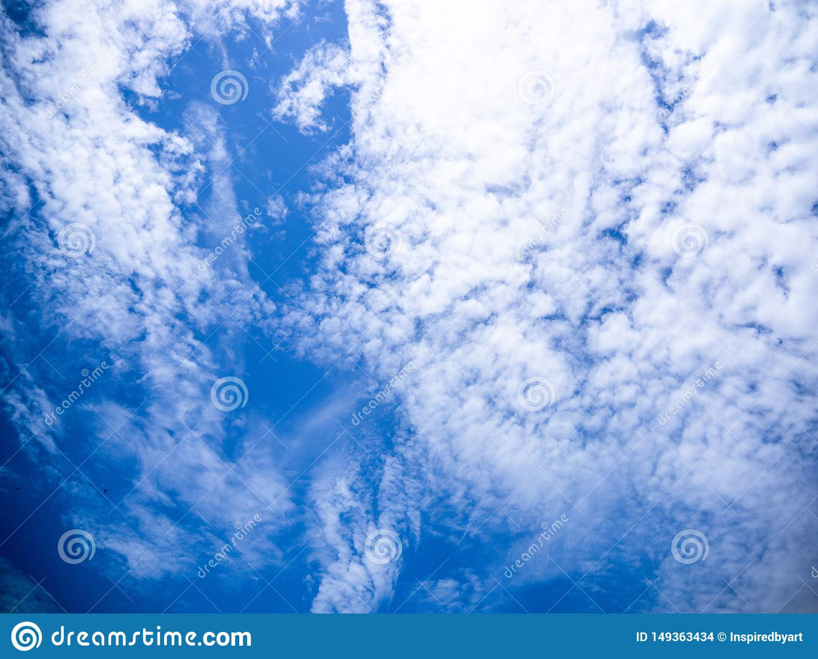 Blue sky and fluffy clouds scene