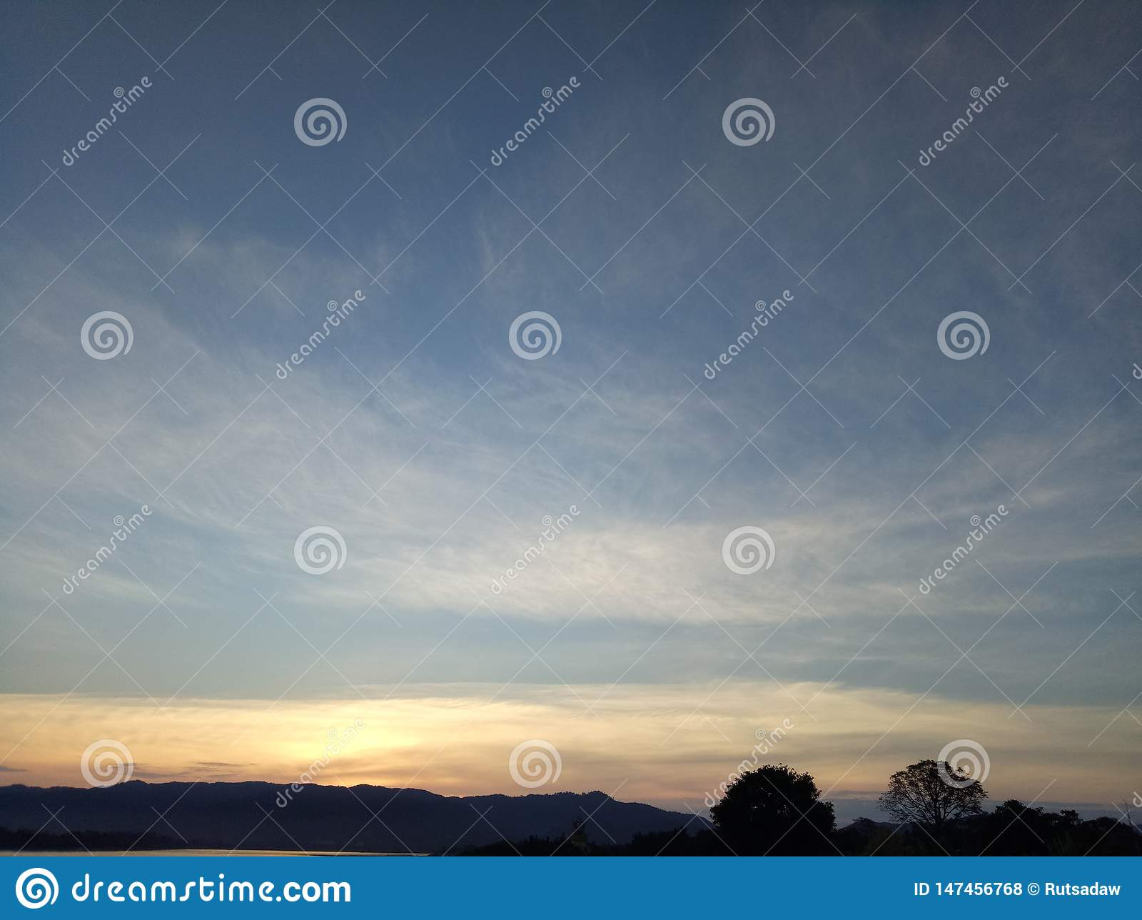 The blue sky and Cirrostratus clouds at the beautiful