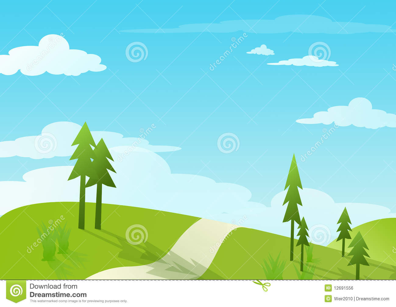 Blue sky and green hill - illustrations