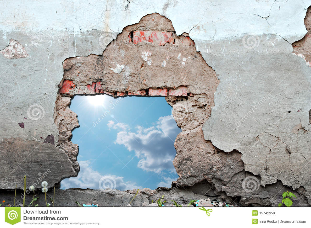 Blue Sky Hole In Aged Brick Wall Stock Photo Image 15742350