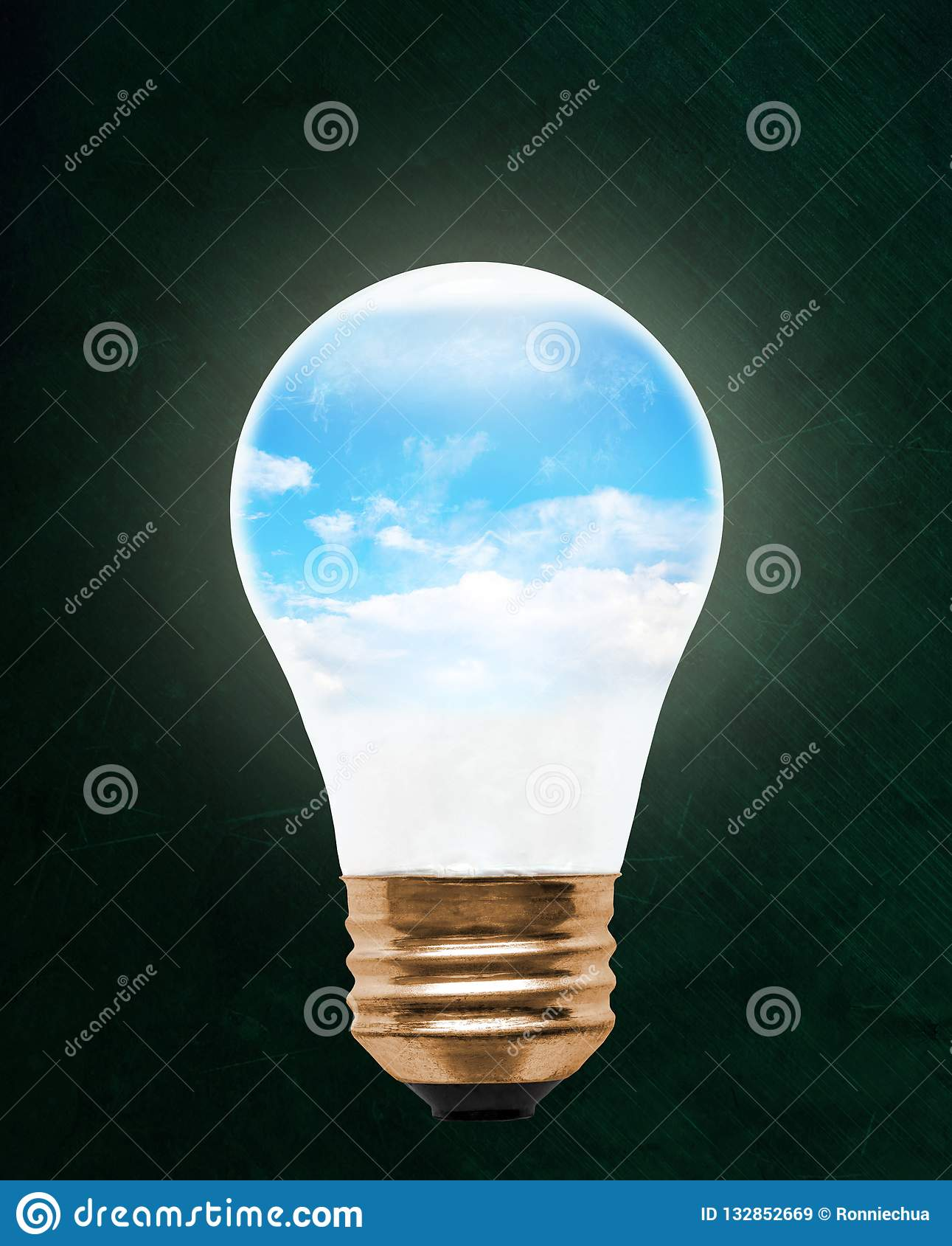 Blue Sky Inside Floating Light Bulb With Copy Space Stock ...