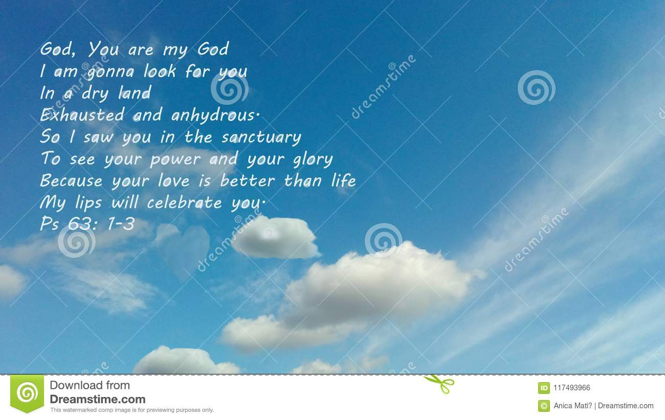 Blue Sky With A Message From The Bible  One Of The David`s Psalms