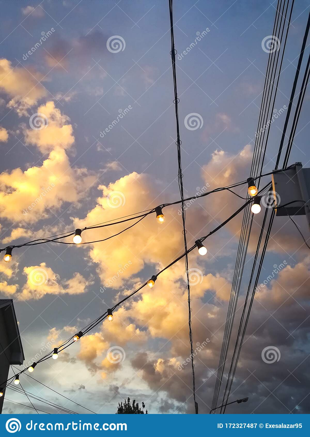 Blue Sky With Pink And Orange Clouds Aesthetic Tumblr Background Wallpaper With Fairy Lights Stock Image Image Of Christmas Decor 172327487