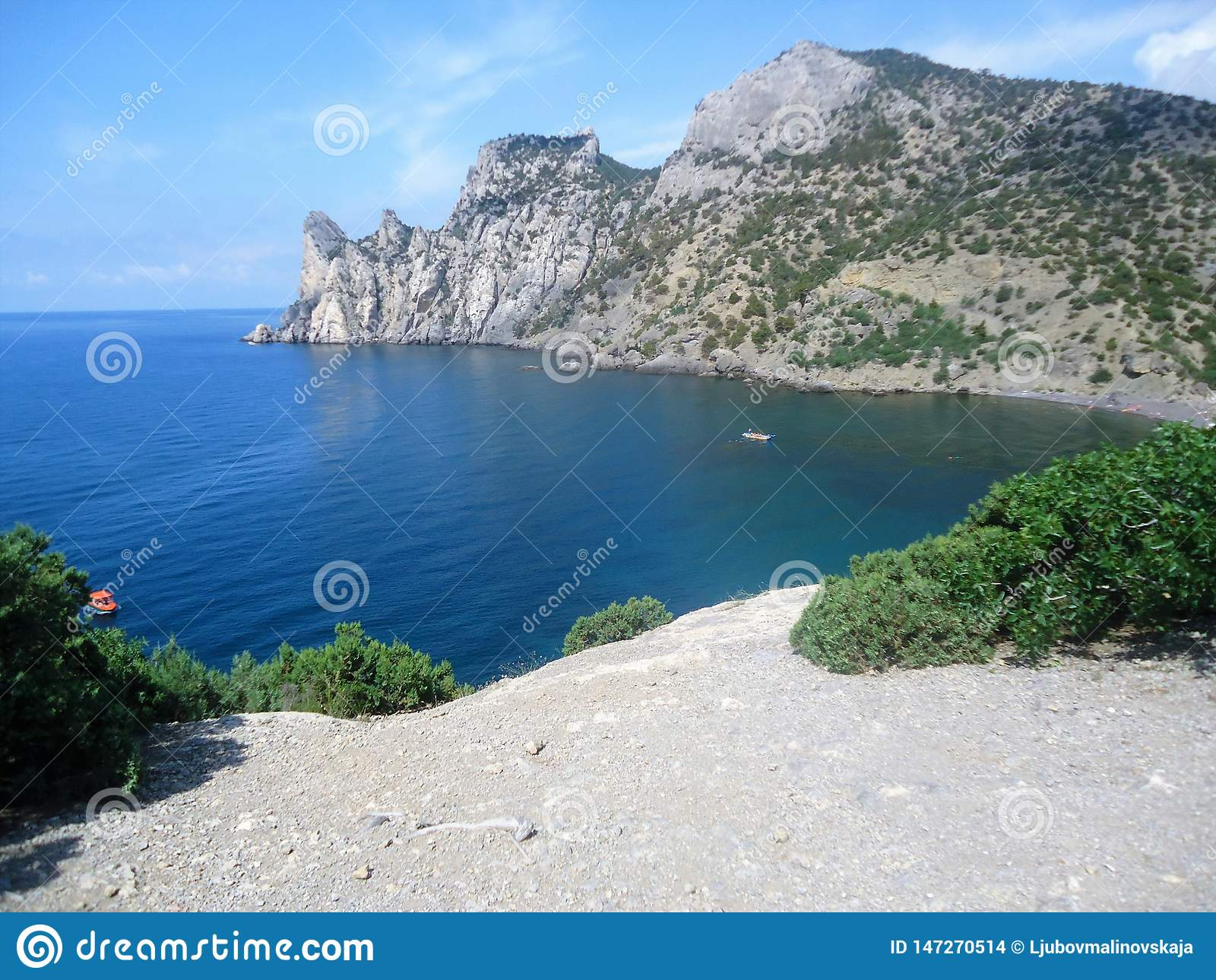 Beautiful mountain island in the blue sea.