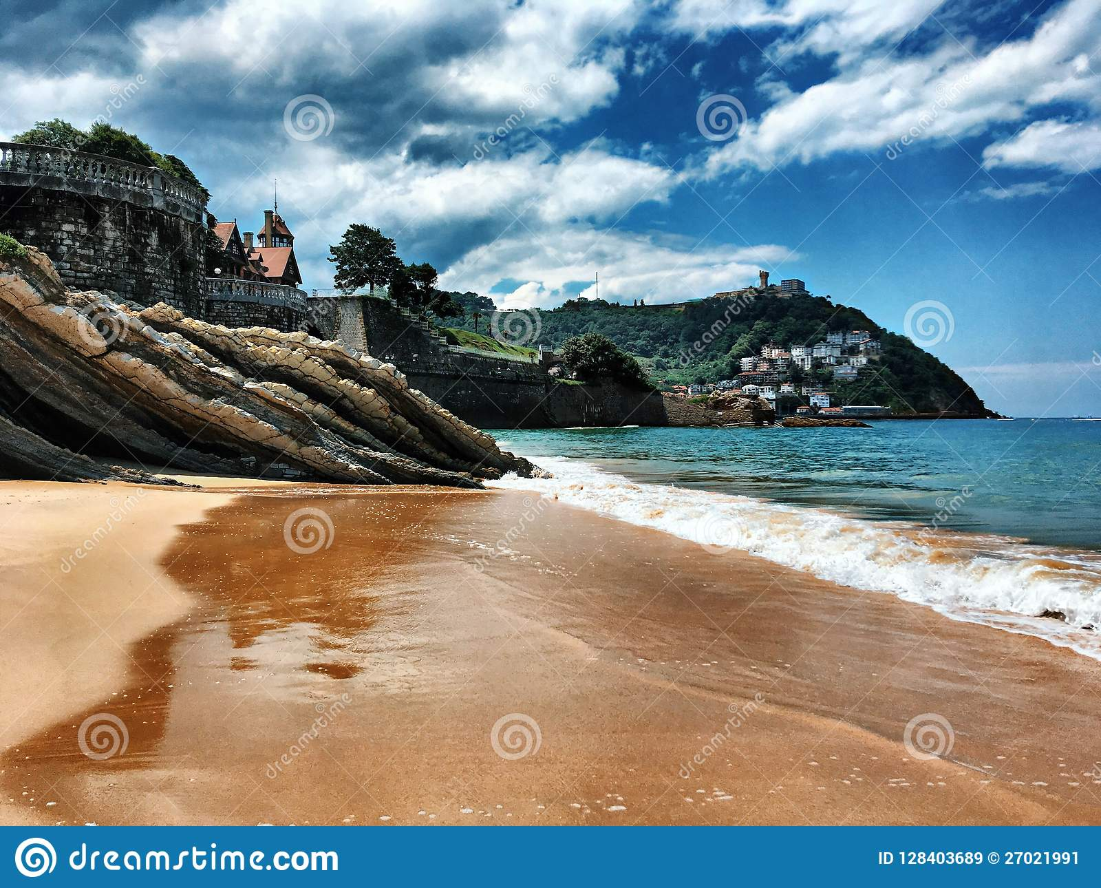 spain san sebastian beach summer 2018 stock image - image of blue