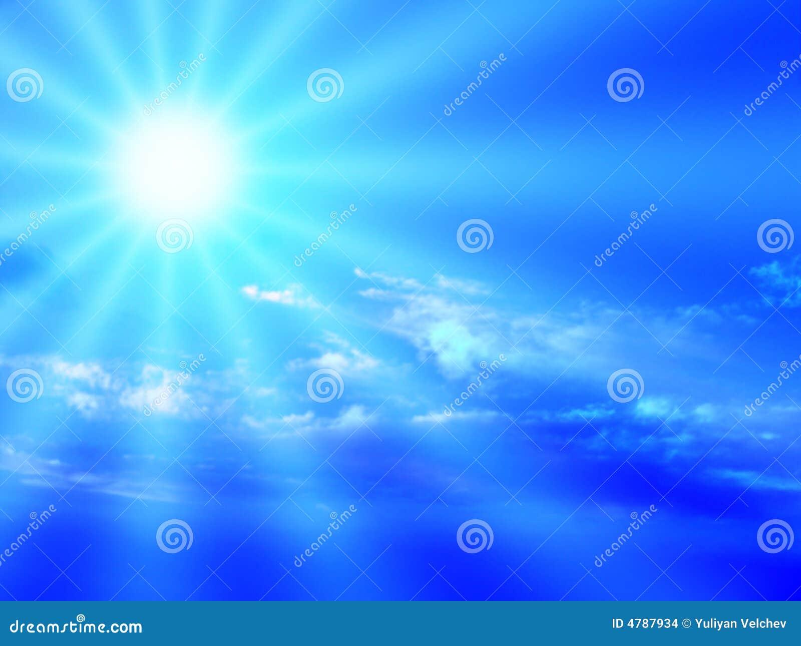 Blue sky and sunbeam