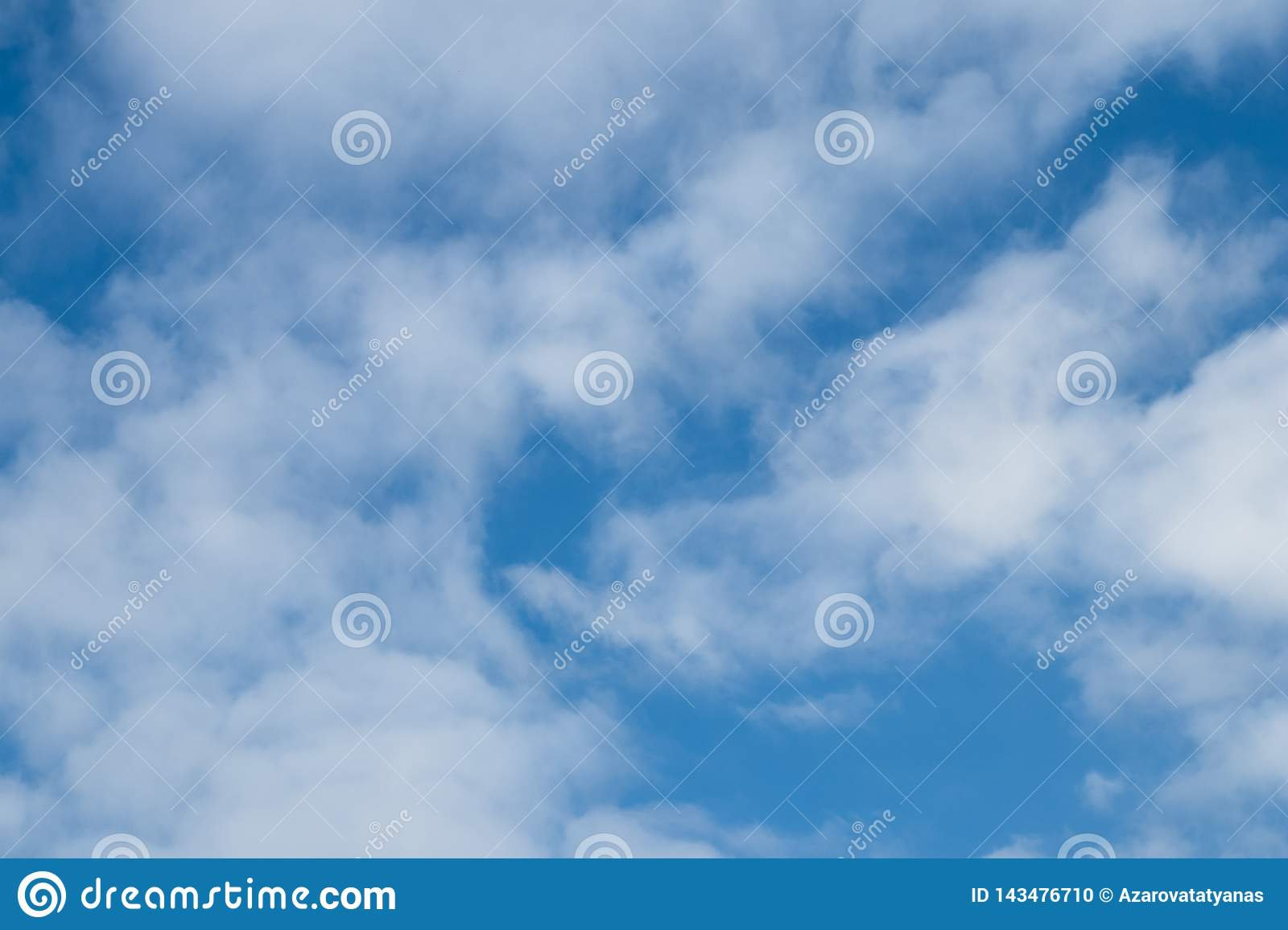 Blue sky texture with clouds. Sky blue clouds background. Space texture. Natural scene of cloudscape. Abstract pattern with cloud