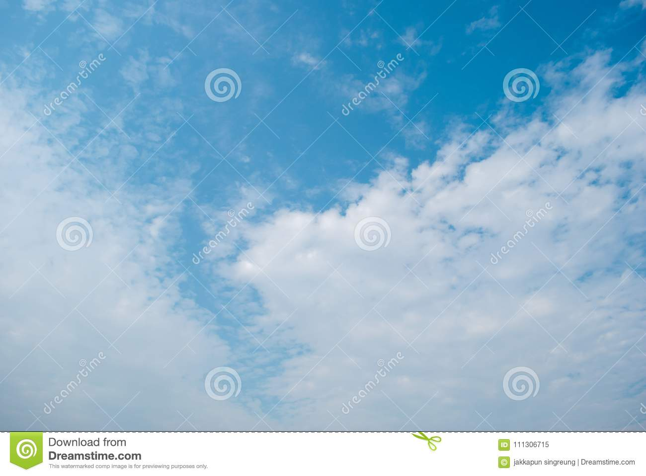 Blue sky and white clouds background On the day of the sky`s overcast