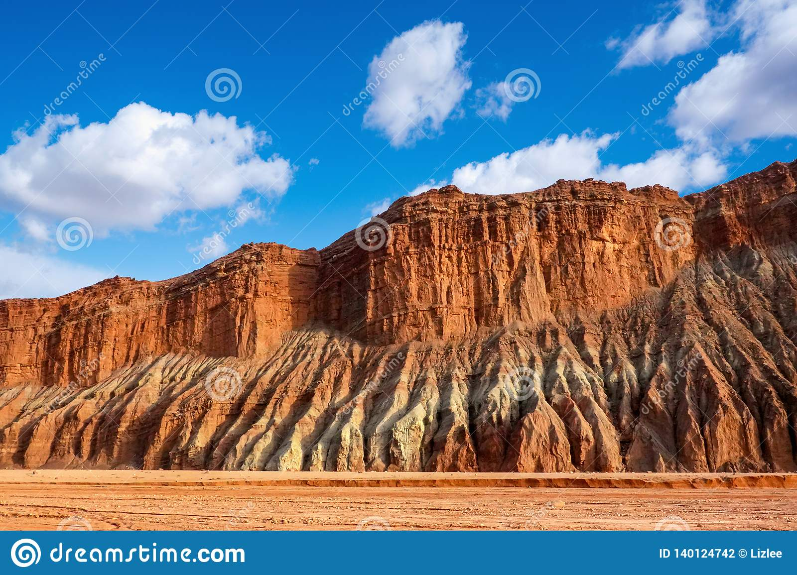 Blue sky white clouds and colorful Wensu Grand Canyon in Autumn