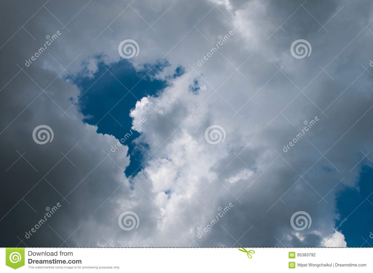 Blue sky with white clouds on sunset. Many little white clouds creating a tranquil weather pattern on the blue background