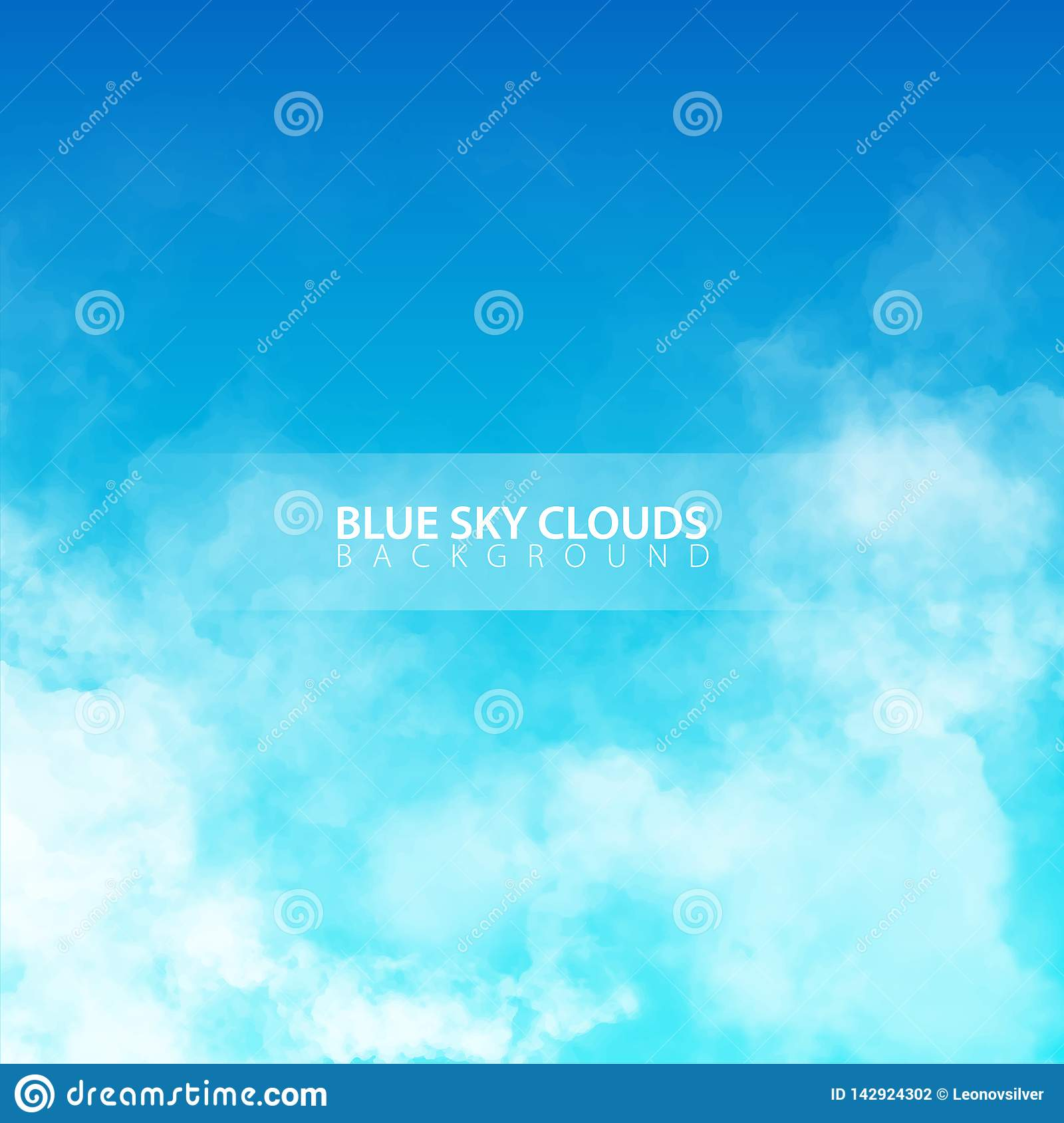 Blue Sky With White Realistic Clouds  Vector Illustration