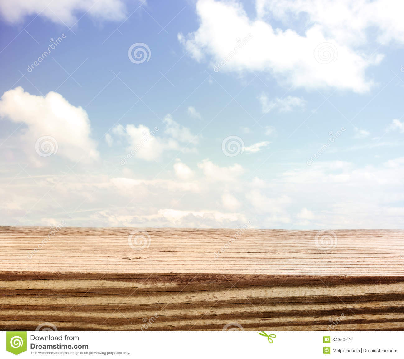 Blue sky with a wooden board foreground stock photo