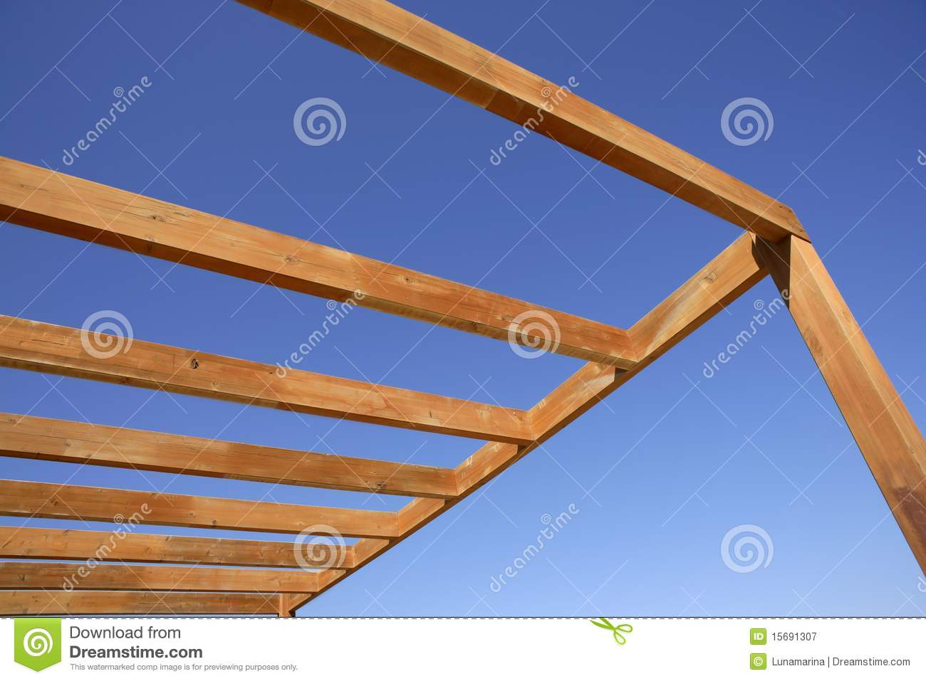 Blue Sky Wooden Golden Awning Beams Royalty Free Stock Photography ...