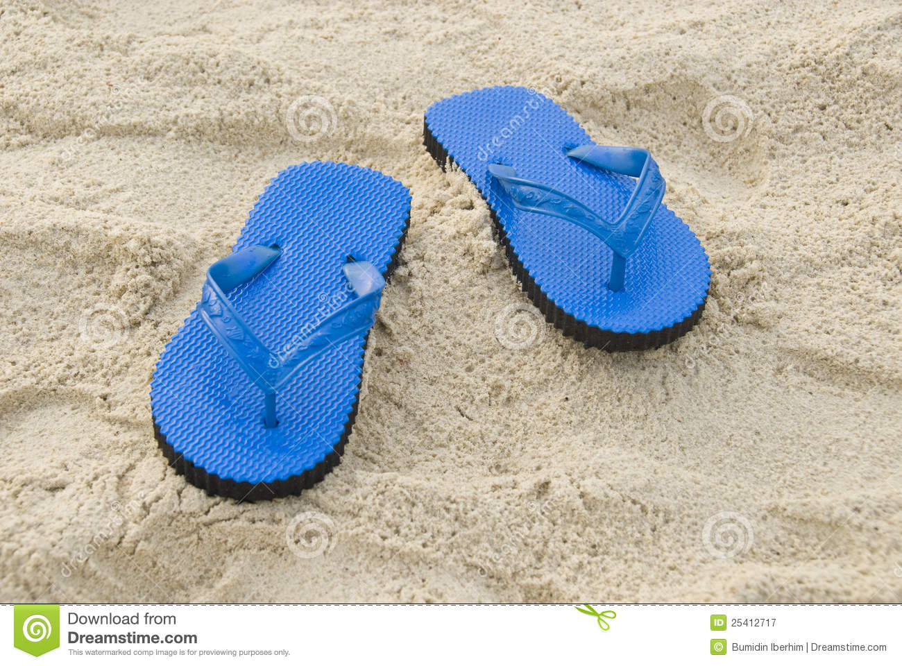 0f7de292a Blue Slipper On A Sandy Beach Stock Image - Image of flop, light ...