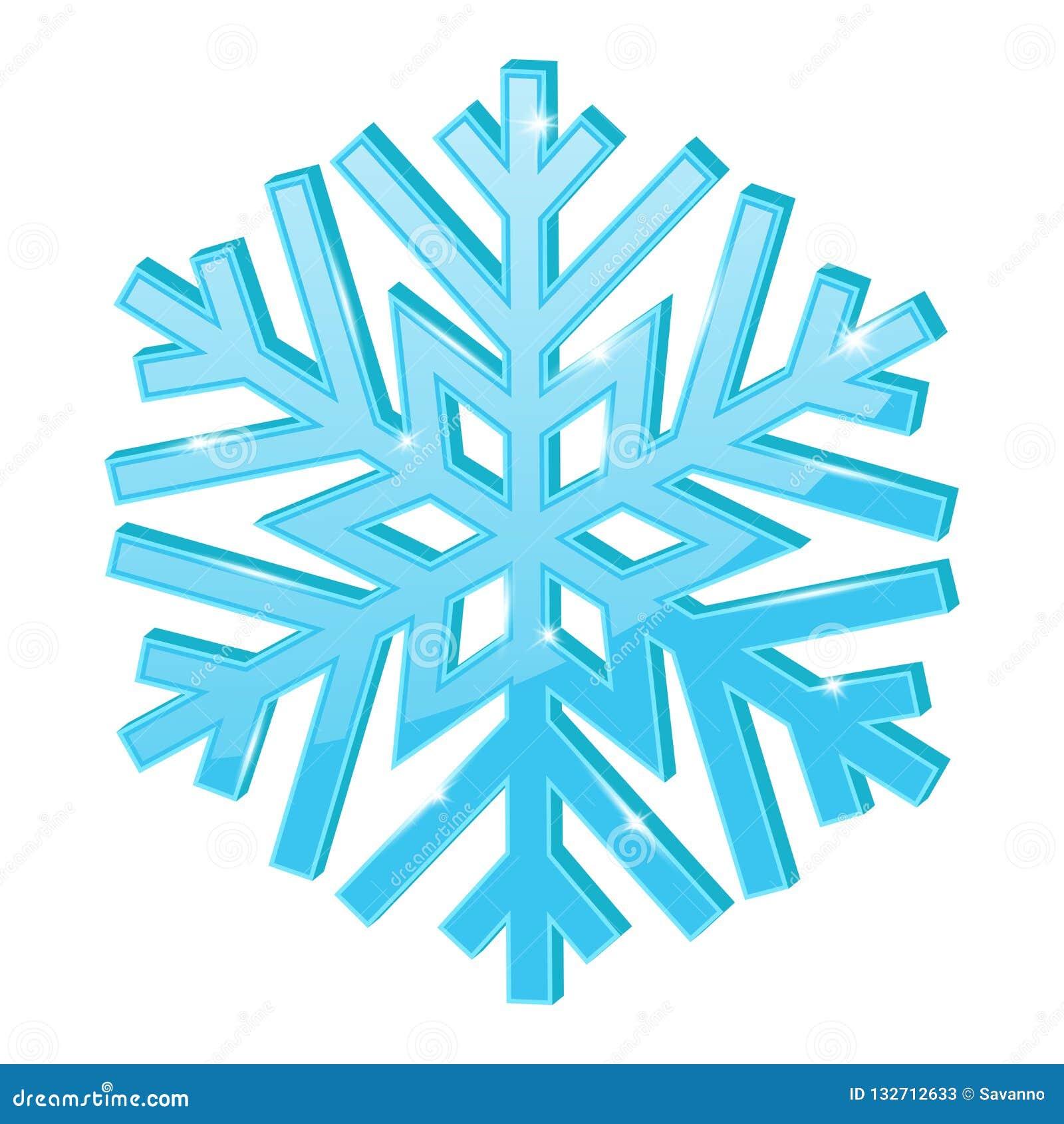 Blue snowflake. 3d symbol stock vector. Illustration of blue - 132712633