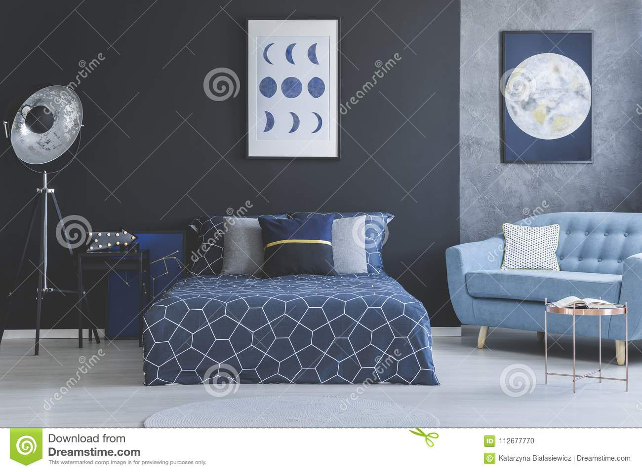 Picture of: Blue Sofa In Bedroom Interior Stock Photo Image Of Industrial Gallery 112677770