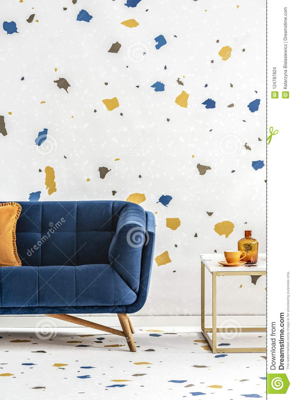 Super Blue Sofa With Orange Pillow Next To Table In Colorful Theyellowbook Wood Chair Design Ideas Theyellowbookinfo