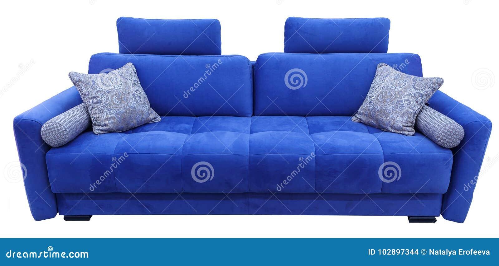 Blue Sofa Soft Velour Fabric Couch Classic Modern Divan On
