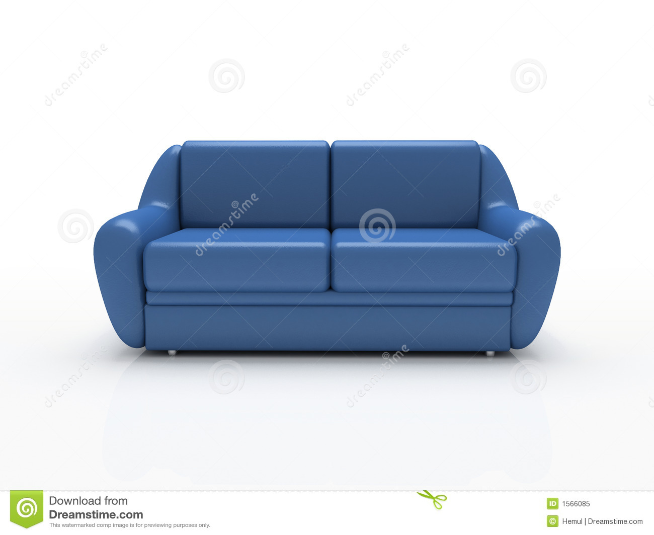 Blue sofa on white background insulated stock image for Blue white sofa