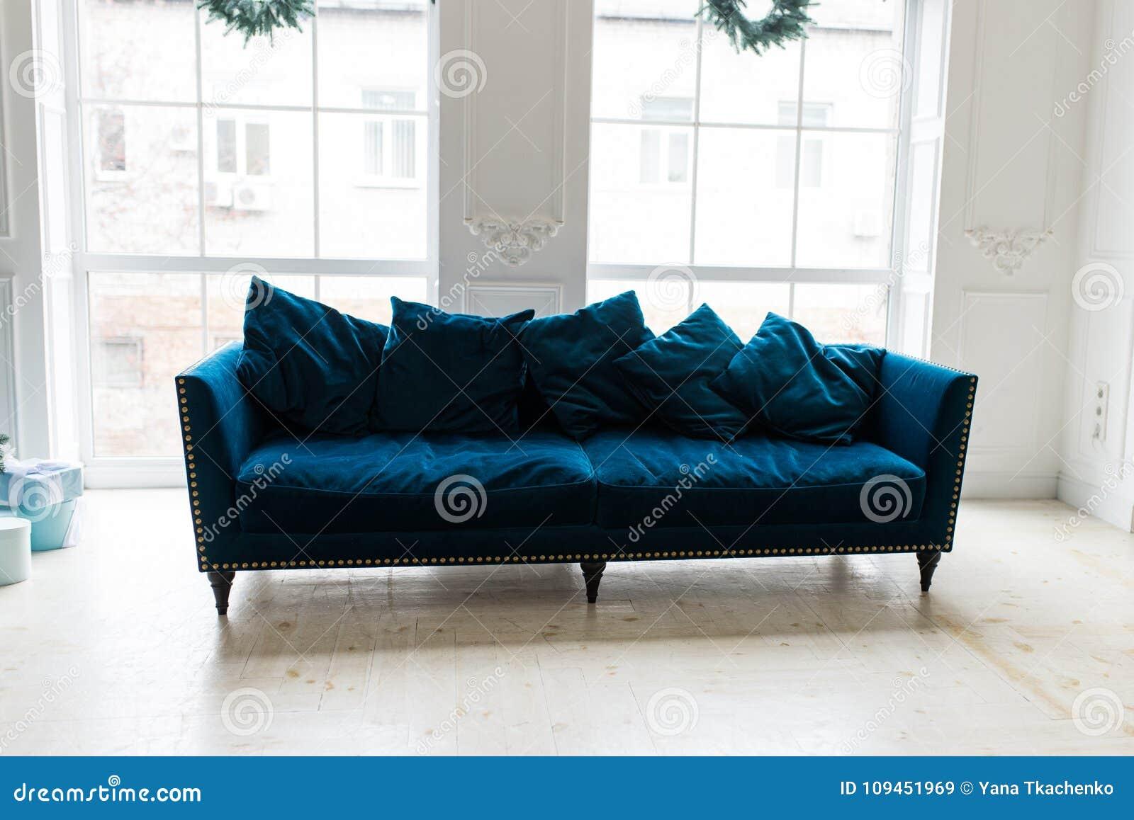 Blue Sofa In White Simple Living Room. Modern Color Of Blue Velvet ...