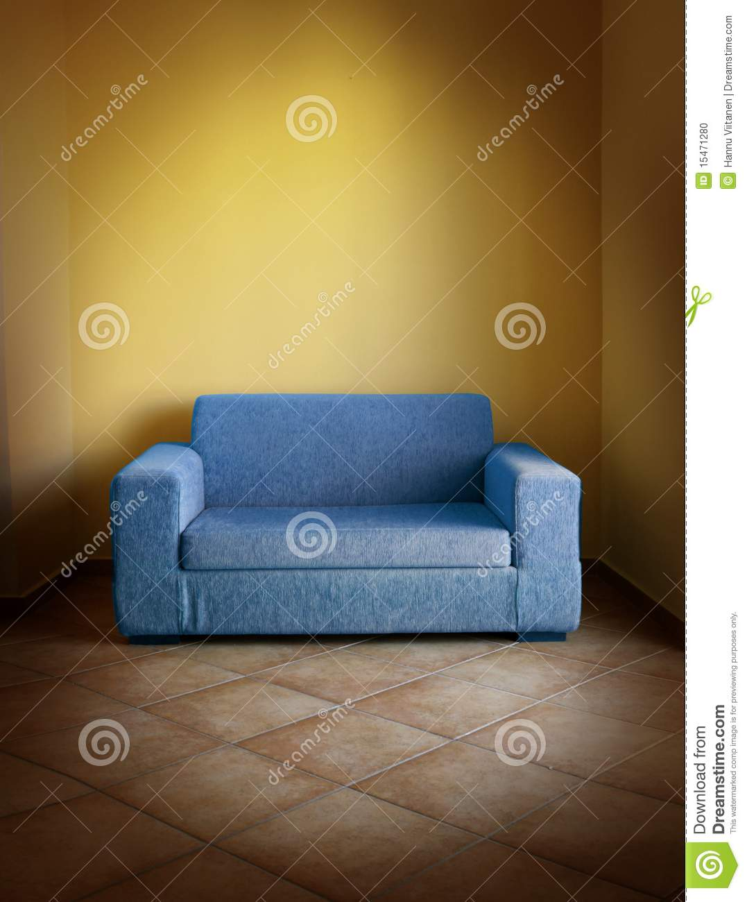 Blue Sofa Yellow Wall Stock Photo Image Of Couch Living