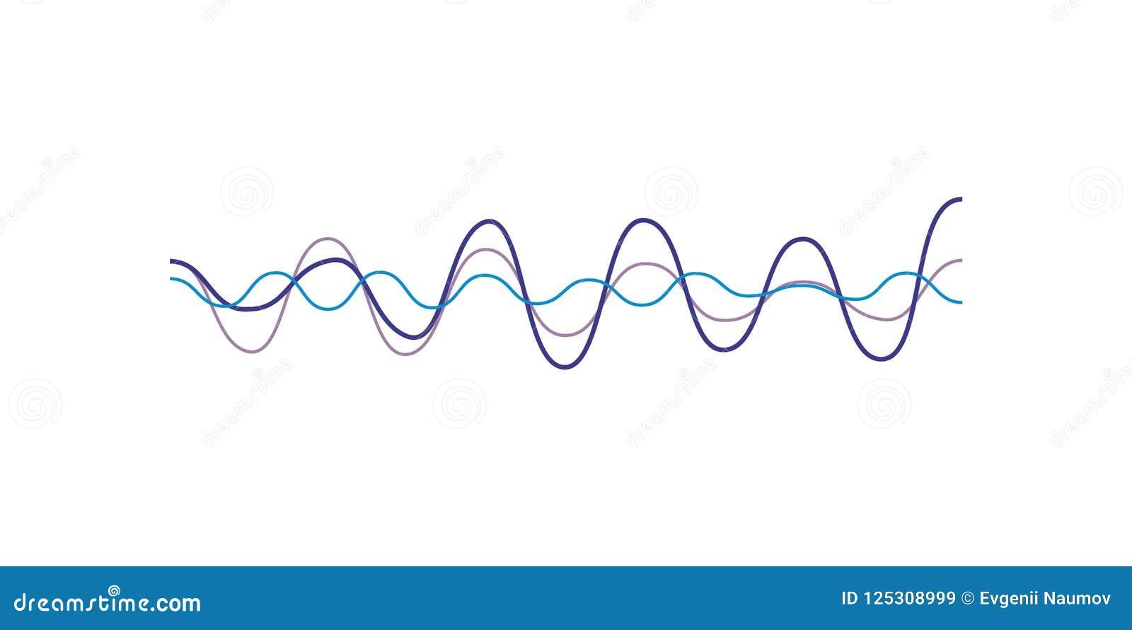 Blue sound wave, audio digital equalizer technology, musical pulse vector Illustration on a white background